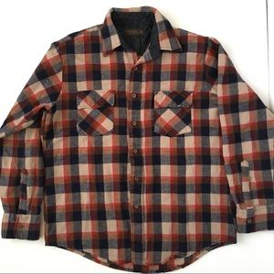 David Harrison Plaid Flannel Button Down Pocket L